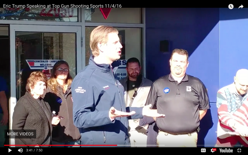 Eric Trump Visits Top Gun Shooting Sports in Taylor MI
