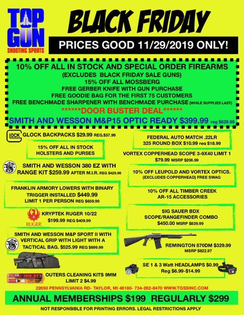 Black Friday Specials Top Gun Shooting Sports Inc Gun Store Shooting Range Gun Rental Gunsmith In Taylor Mi